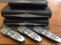3 Sky+HD/SkyHD receivers with remote controls