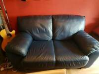 2 seater blue leather seatee