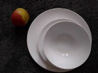 White plates, small plates and bowls from IKEA