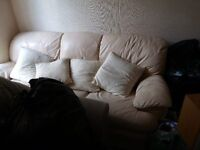 3 SEATER CREAM LEATHER COUCH