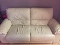 2 cream leather sofas for sale. Great condition. Collection north london