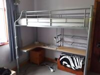 Single Loft Bed, Metal Tubular style with desk underneath, RRP £249