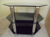 BLACK AND CHROME TV STAND - £12.