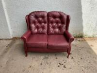 Leather Chesterfield style wingback sofa * free furniture delivery *