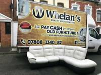 white and black leather corner group sofa ( was £1800 in dfs)