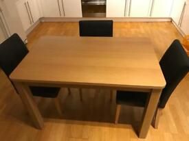 Wooden table with 3 faux leather chairs (Very dark brown)