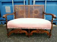 Beautiful antique rare ornate Bergere cane two seater sofa armchair