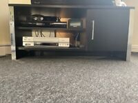 Black Wood & Silver Living Room / Lounge Furniture - TV / Television Unit / Cabinet / Stand
