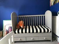 Grey Ikea cot/ cot bed drawers