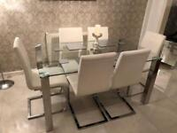 Glass Table & 6 Cream Leather chairs
