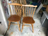 2 Pine Dining Chairs