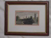 Antique hand-coloured steel engraving, view of Oxford.