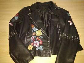Black leather jacket for women size L