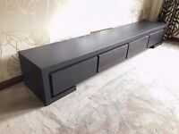 NEARLY NEW Designer black solid oak tv unit stand - RRP £1,200