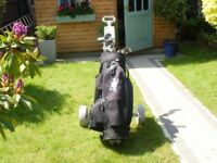 FULL SET OF MENS GOLF CLUBS INCLUDES BAG TROLLEY BALLS AND TEES