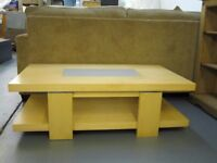 Beech Coffee Table Large with Glass Inlay Detail Ex Display As New