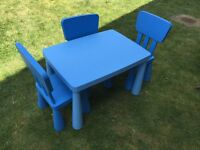 IKEA MAMMUT TABLE WITH 3 CHAIRS