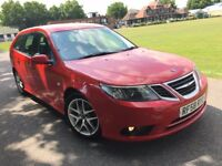 SAAB 9-3 ESTATE SPORT RED 1.9 TiD DIESEL 2009 (58) FACELIFT LEATHERS CAMBELT+WATER PUMP CHANGED FSH