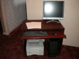 Dark Wood Computer Desk/Unit/Trolley - Local delivery may be available
