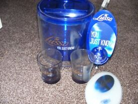 New Tia Lusso Ice Bucket, 2 Glasses, Spirit Optic & 7 Plastic Drip Mats.