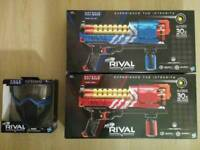 Nerf Rivals 2 x Artemis XVII-3000 (Red & Blue) Plus Face Mask - Brand New & Sealed