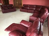 Leather corner sofa, 2 seater and armchair for sale