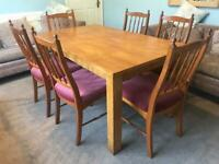Wooden Dining Table and 8 Chairs H29.5in/75cm D35.5in/90cm W59in/150cm R413