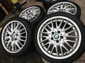 "Genuine OEM BMW M-sport 18"" 5x120 alloy wheels + tyres vivaro transporter t5"
