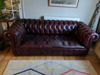 Red leather chesterfield sofa, 3 seater