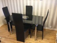 Harveys Tempered Glass Extending Dinning Table & x4 Uphgolstered Chairs