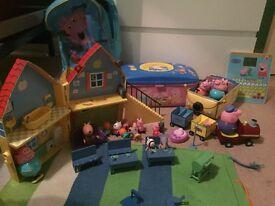 Peppa pig bundle includes classroom figures. House. Bag. Campervan. Tablet etc