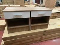Bedside 1 drawer table oak/white