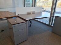 Walnut-grey contrast 4-drawer lockable office pedestals £85 each