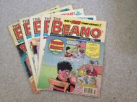 Beano, 5 nice quality comics from 1991/92 collectable.