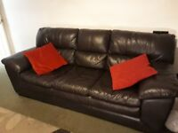 3 & 2 seater sofa settee with storage pouffe in Real Leather. Chocolate Brown. Ex cond