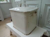 Vintage Painted White Enamel Storage Bin Bread Bin Shabby Chic