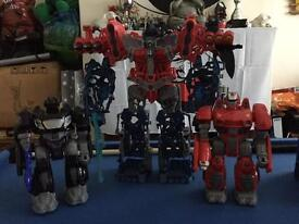 Large transformer and two small robots