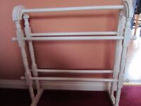 White Colour Wood. Wooden Bathroom Towel Rack Stand Rail