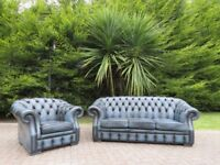 Chesterfield Buttoned Leather 3+1 Suite (Denim Blue)