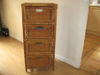 Rattan 4 drawer unit