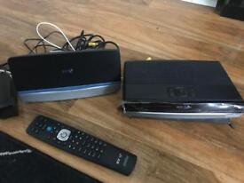 BT YOUVIEW BOX WITH REMOTE AMD WIRELESS HOME HUB