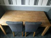 Solid wood dining table plus 6 fabric chairs