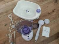Foot spa, face steamer brushes and back massage