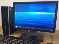 Very Fast HP 8000 Elite/ Dual Core 3.20Ghz / 4GB / 250GB / WiFi + Dell Monitor Desktop PC Computer