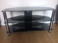 Black Glass with Chrome Legs TV Stand