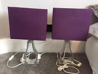 Set of Two Solid Chrome Ikea Lamps