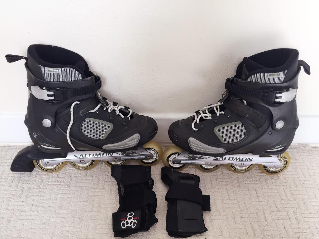 Roller shoes london - Fsk Salomon Deemax Inline Roller Skating Shoes Come With Knee Pads Size Uk8