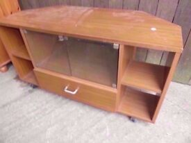 Tv Unit Stand wood with Glass Doors Delivery Available