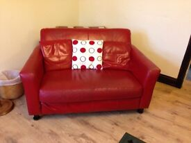 Red Leather Sofa x 2