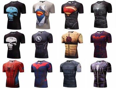 Superhero Marvel T-shirts Costume Short Sleeve Compression Fitness Shirts 3D Men (Costumes T Shirts)